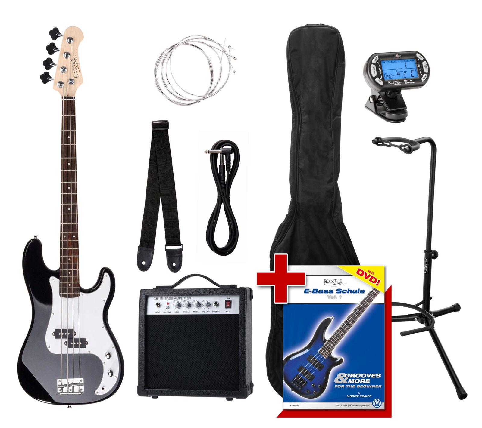 PB e-Bass Set completo amplificatore Clip Cavo Regolatore voce Gigbag scuola STAND