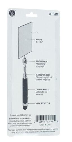 "Cushion Grip Handle #8015TM New 7/"" Telescopic Inspection Rectangular Mirror w"