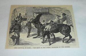1879-Rivista-Incisione-Fiera-in-Roma-Gara-Nel-Corso