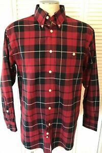 Orvis-Men-039-s-Medium-Red-Plaid-Button-Front-Shirt-Cotton