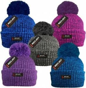 cafbbf52b45 Ladies Men Adults Chunky Marl Knit Thermal Fleece R40 Beanie Bobble ...