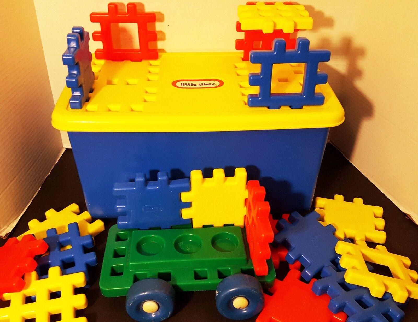 Little Tikes Wee Waffle Blocks Wheel Base Wagon Truck Car Storage Bin Box 4  Lot