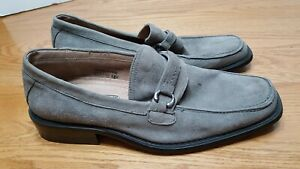 Fratelli-Select-Gray-Suede-Loafers-Mens-9-5M-Slip-On-Leather-Silver-Hardware