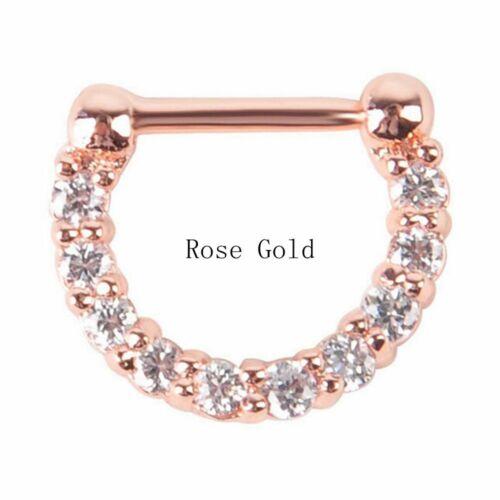 Surgical Steel Clicker Nose Ring Hoop Cubic Zirconia Body Piercing Jewelry