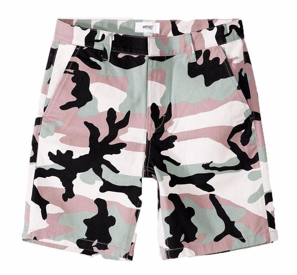 WeSC Mens Misty pink Rai Woven Army Camo Print Slim Shorts Military Inspired