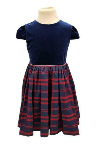 Ex Mothercare blue velour and check fully lined Christmas Party dress 9mth-10yrs