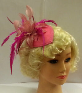 Vintage-40s-50s-Hat-Hotpink-Teardrop-Hat-Feather-fascinator-Ascot-wedding-Hat