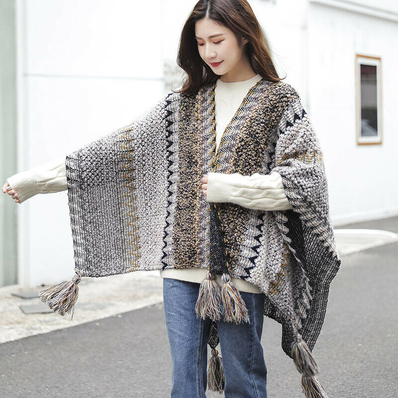 Women Check Cloak Ethnic Knitted Poncho Bohemian Batwing Fringe Shawl Cape
