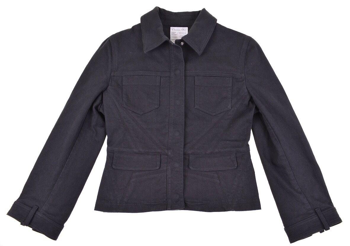 Raro  Christian Dior muestra Feb07 Negro Denim Sarga Botón a Presión S Chaqueta De Jean  ventas en línea de venta