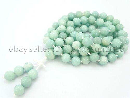 Natural 10mm Gemstone Buddhist 108 Beads Prayer Mala Knot Necklace Multi-Purpose