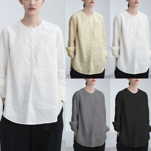 Womens-Long-Sleeve-Loose-Retro-Casual-Chinese-Style-Shirt-Cotton-Tops-Blouse
