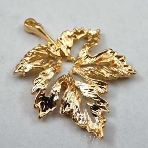 30pcs Gold Tone Alloy Hollow Out Leaf Shape Charms Pendentif Craft Findings 39729
