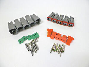 5-sets-GRAY-Deutsch-DT-2-Pin-Connectors-14-16-18-ga-AWG-Solid-Contacts