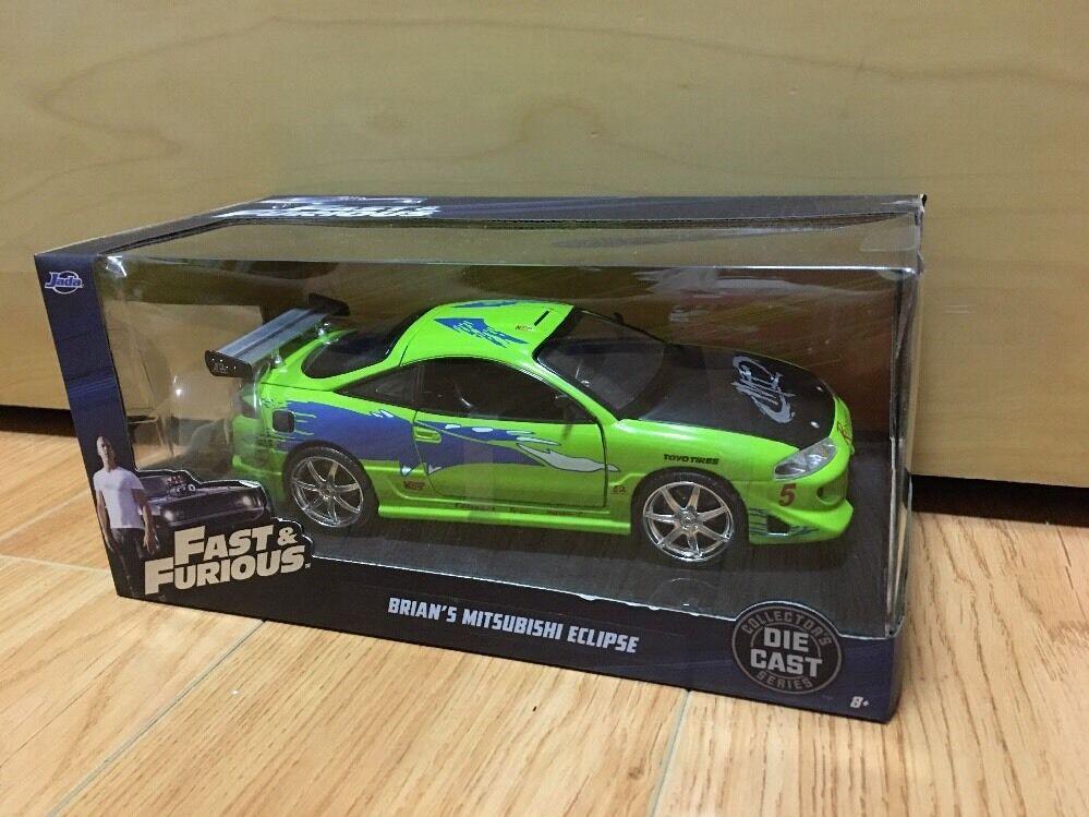 Jada Mitsubishi Eclipse Brian's Coche verde Rápido y Furioso 1 24 97603 1 En Mano