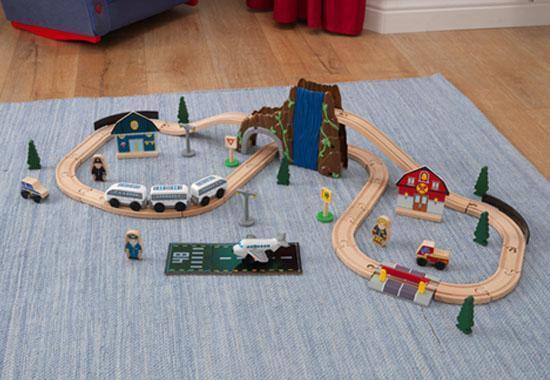 Train et circuit de train en bois complet 50 pièces avec tunnel et pont 17989