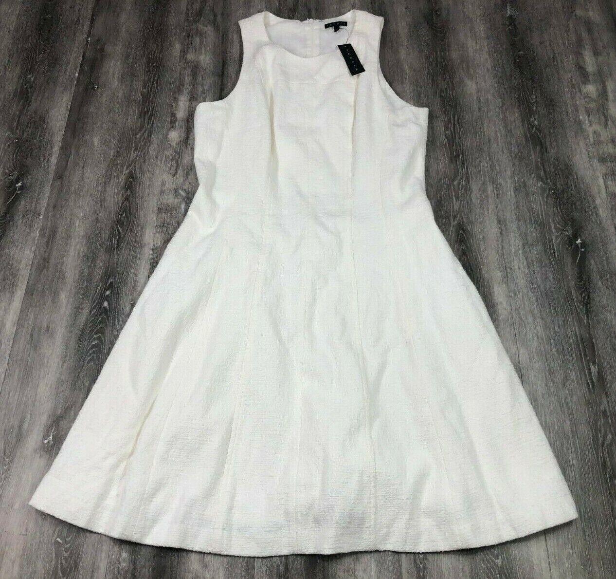 BRAND NEW THEORY Weiß Vizela Maydra Woherren Dress Flowy Peplum Größe 10 USA