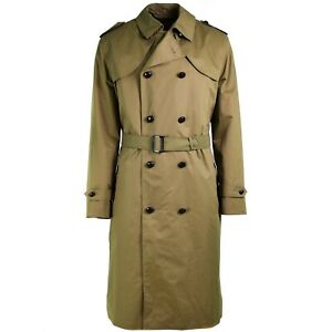 Genuine-Dutch-army-Coat-Khaki-long-officer-trench-coat-with-lining-NEW