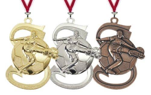 10 Stk Pokale & Preise originelle Fußball Relief Medaillen mit Band nur 11,95 EUR