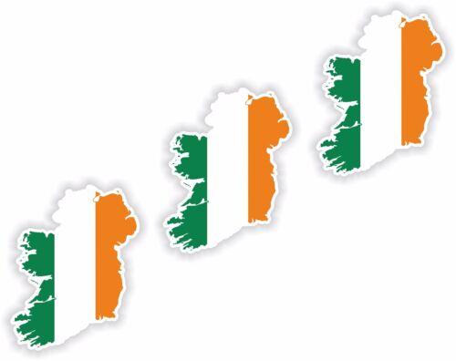 Ireland MAP FLAG 3x Sticker 3cm Skyline Motorcycle Helmet Laptop