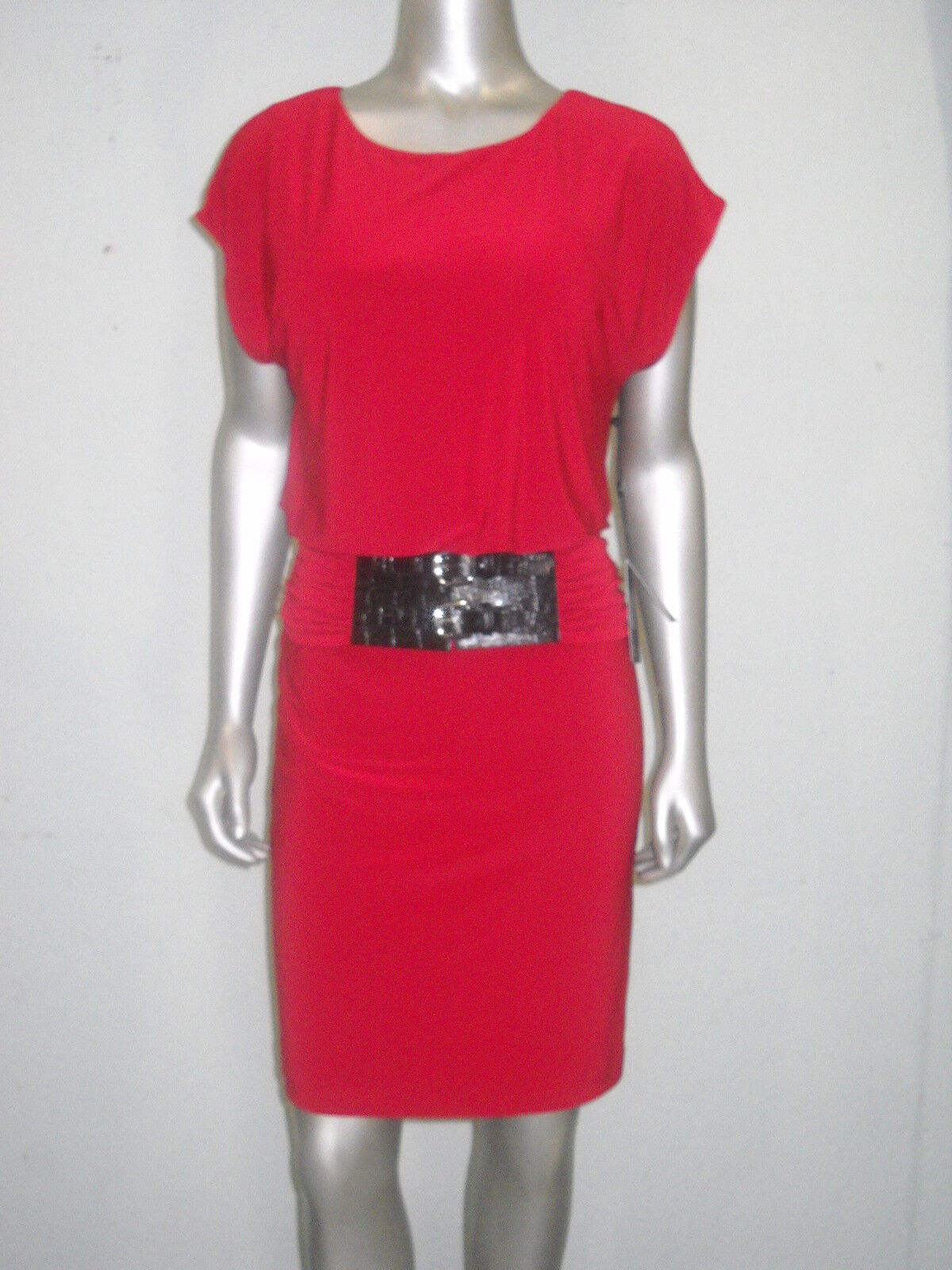 Adrianna Papell Women's Red Blouson Belted Dress Size 4