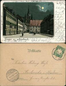 Ansichtskarte-Ansbach-Mondschein-Litho-Markt-1899