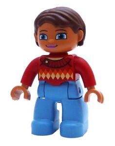 Lego-Duplo-Frau-braune-Haare-rotes-Karo-Shirt-blaue-Hose-Neu