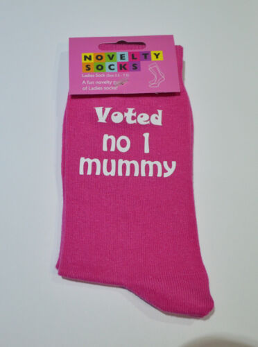 Voted No 1 Mummy Ladies Printed Hot Pink Socks Birthday or Christmas Present
