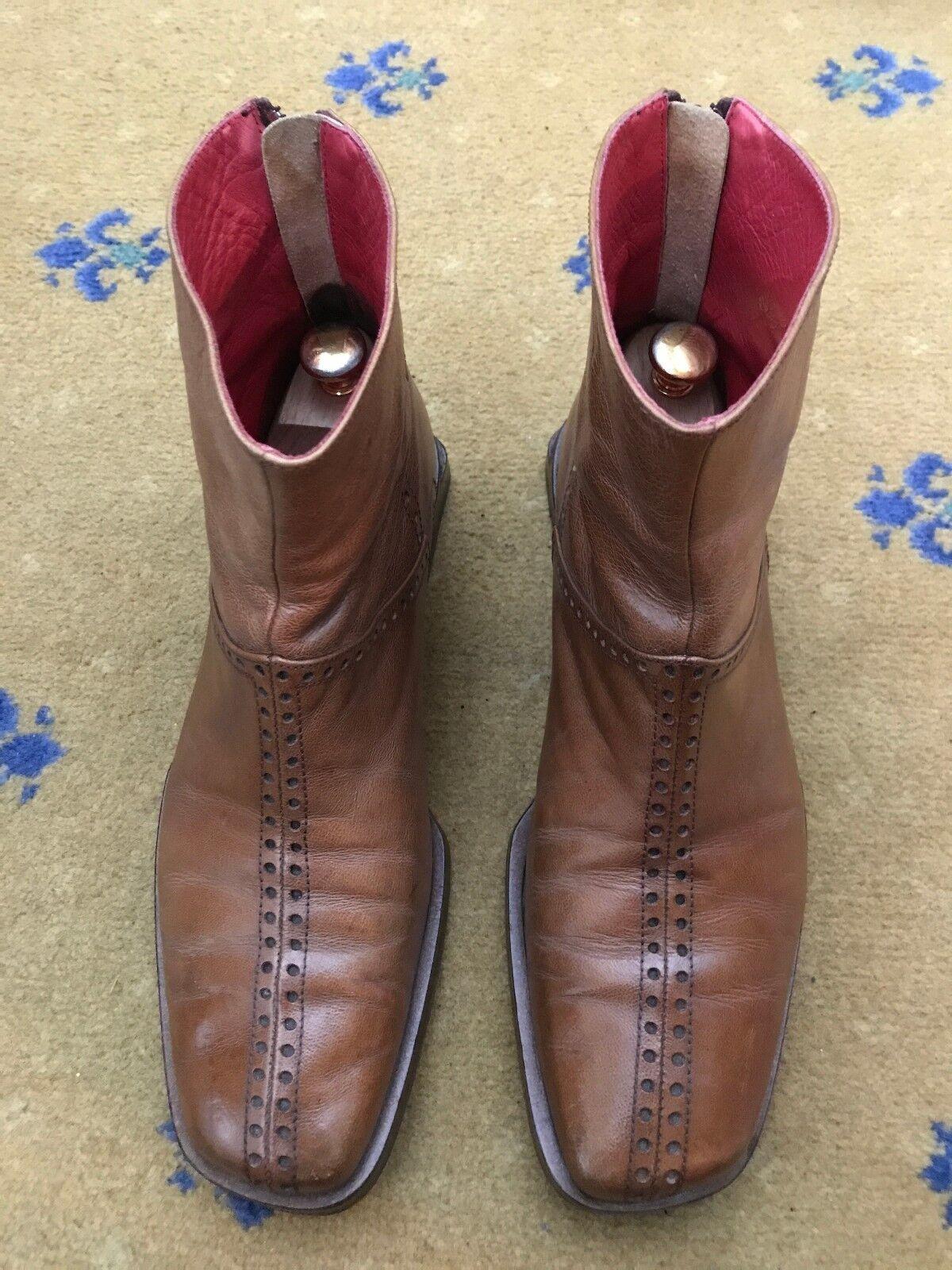 Oliver Sweeney Mens Tan Brown Leather Chelsea Dealer Boots US 9