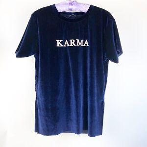 STRADIVARIUS-KARMA-Velvet-Blue-Size-Small-T-Shirt-Tee