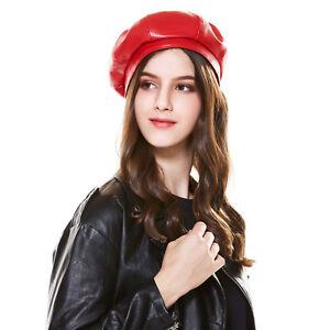 Fashion Women Beret Hats Winter Caps Ladies s Leather Cap Spring Hat ... b56e83a2b4e