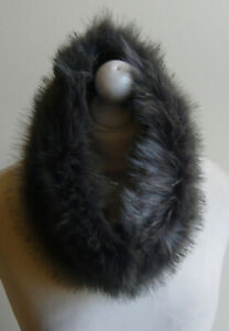 Grey-Faux-Fur-Snood-Neck-Warmer-Luxury-Loop-Scarf-Cowl-Lined-Infinity-Gift-New