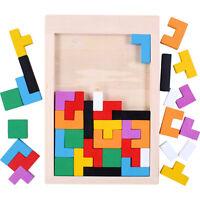 Wooden Tangram Brain Teaser Puzzle Tetris Game Preschool Children Play Wood Toys