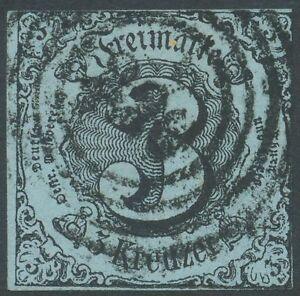 THURN-UND-TAXIS-1858-Ziffer-3Kr-schwarz-mittelgruenlichblau-034-236-034-KALTENNORDHEIM