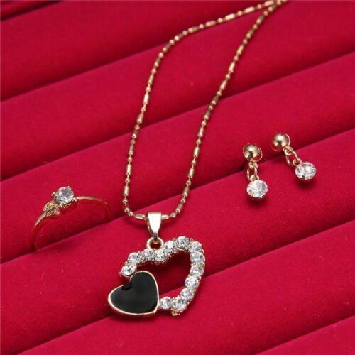 5pc Gold Black Heart Shaped Necklace Earrings Bracelet Ring Set Jewellery Set J3