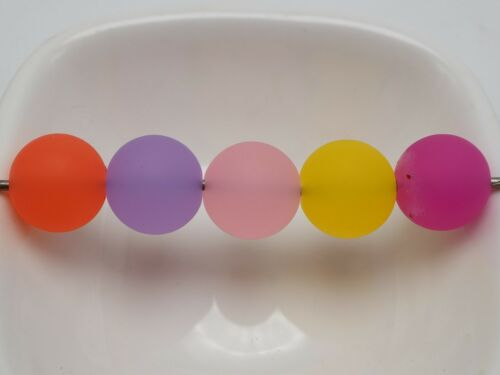 50 Mixte Couleur Givré Acrylique ronde lisse perles 14 mm en caoutchouc Tone