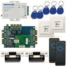 2 Door Complete TCP/IP Access Control System Kit &110V Power supply  Strike Lock