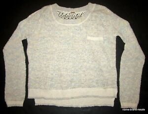 FREE-PEOPLE-Lace-Back-SWEATER-Womens-S-SMALL-Cream-Tan-Blue-Hi-Low-Crochet