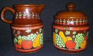 Vintage-Made-in-Japan-Marked-Ceramic-Sugar-amp-Creamer-Brown-With-Fruit-Motif