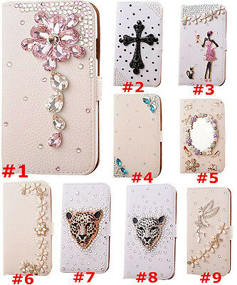 Bling Crystal Diamonds flowers PU leather flip wallet case cover skin For Huawei