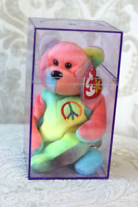 20428cc70cc Ty Beanie Baby Peace Bear PVC RARE Error 4th Gen Hang   Tush Retired ...