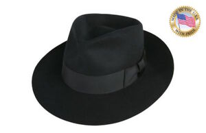 Image Is Loading Shannon Phillips BLACK Wool Felt JACKSON FEDORA Hat