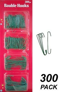 300 Pack Wire Christmas Ornament Hooks - Metal - Green