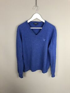 GANT-Jumper-Medium-Blue-Lambswool-V-Neck-Great-Condition-Men-s