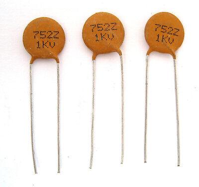 Hard to Find Value .0075uF 1000V Ceramic Disc Capacitors 7500pF 3//PK