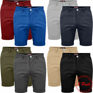 New-Mens-2-Pack-Chino-Shorts-Cotton-Multi-Pack-Half-Pant-Casual-Gift-Set-Cargo