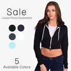 American Apparel Cropped Zip Hoodie Flex Fleece F397 Women's Basic Sweatshirt