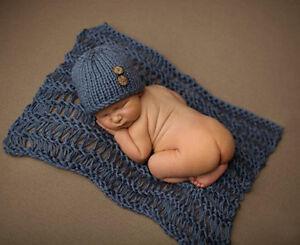 Newborn Baby Crochet Knit Soft Wrap Swaddle Blanket + Hat Photography Photo Prop