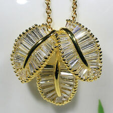 18K Yellow Gold Filled Baguette CZ Women Fashion Jewelry Necklace Pendant P1286