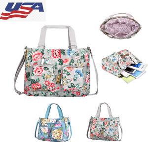 Women Nylon Crossbody Bag Floral Multi functional Travel Shoulder Organizer Bag