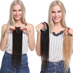 Real-Human-Hair-Toppers-Straight-Hairpieces-Clip-in-Top-Crown-Replacement-Hair